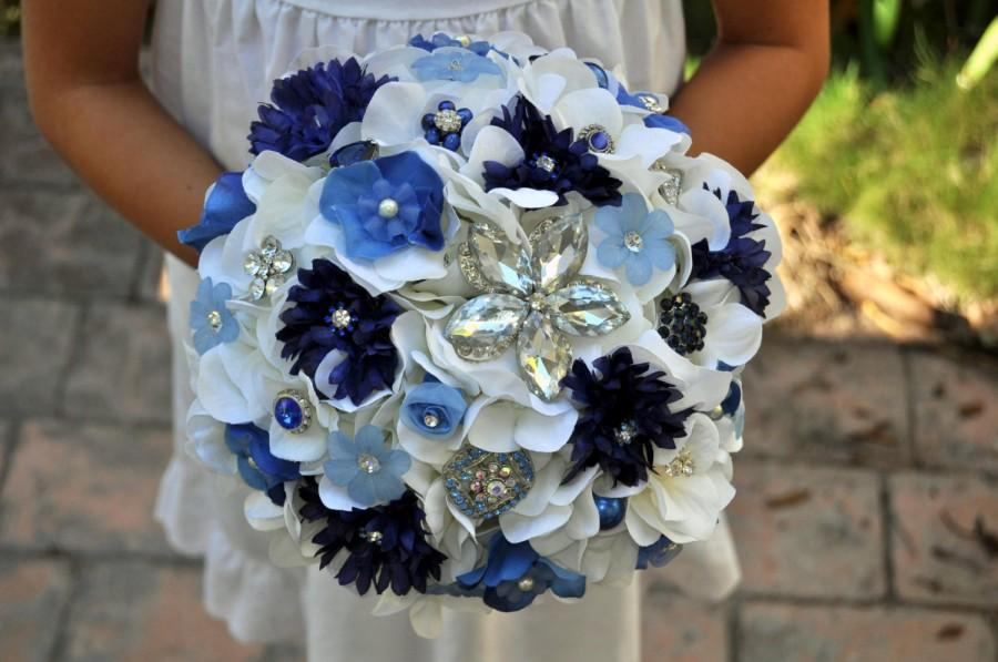 Mariage - READY TO SHIP Blue and Ivory Hierloom Brooch Bouquet - Blue Bridal Bouquet - medium 8 inches