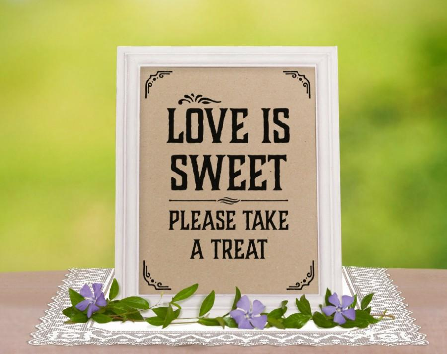 Love Is Sweet Sign Rustic Wedding Decor Candy Bar Wedding