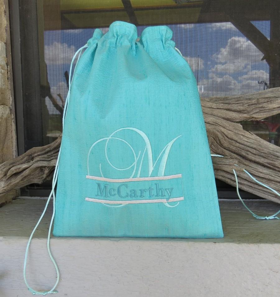 زفاف - Bridal Drawstring Money Bag Silk Dupioni with Last Name Split Font