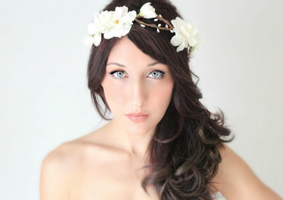 Wedding - Flower Crown, Ivory, Delphinium Wedding Tiara, Bridal Hair Wreath, head wreath, fairy, woodland - LENORA - by DeLoop