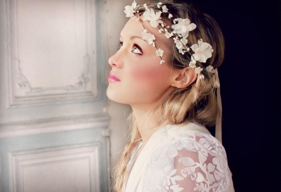 Wedding - wedding accessories, bridal headpiece, wedding flower crown, ivory Flower crown, rustic head wreath, wedding headband, bridal hair