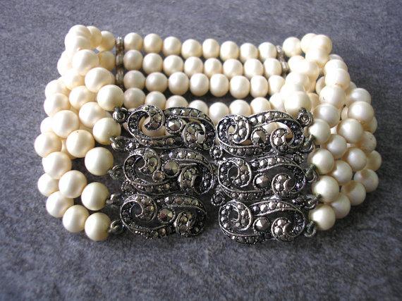 great gatsby pearl bracelet bridal cuff marcasite