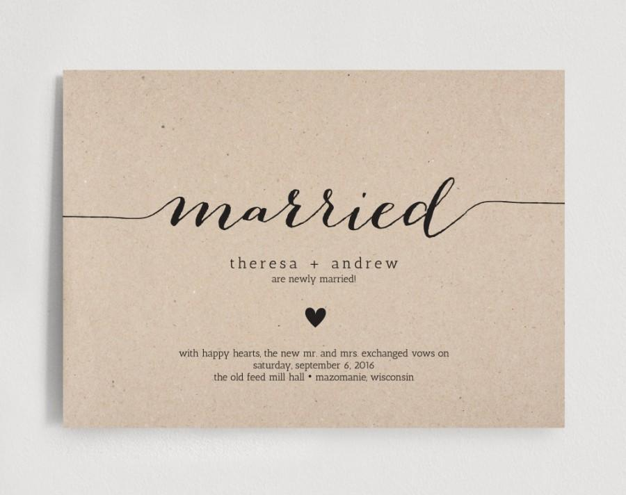 Just Married Wedding Announcement, Elopement Announcement Editable