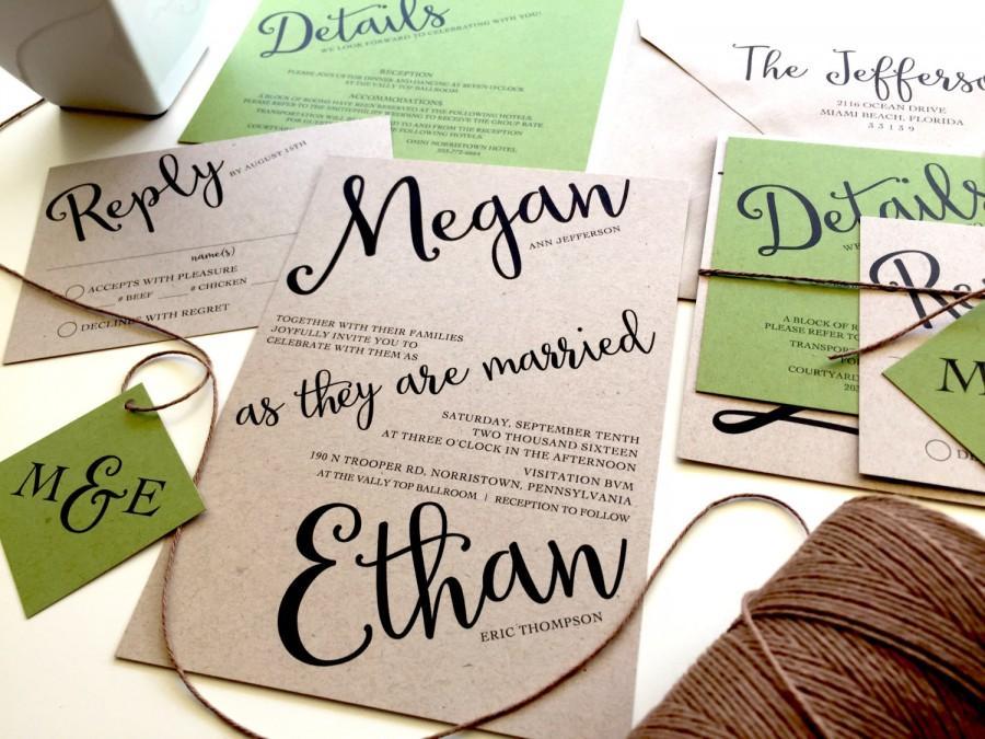 Sample Angled Script Wedding Invitation Set Twine Kraft Paper