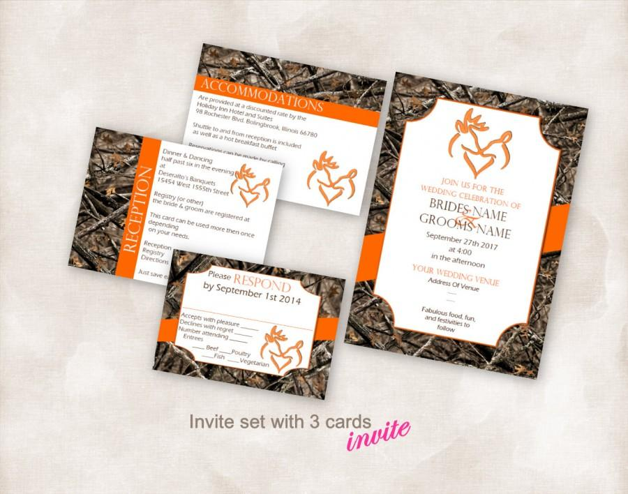 wedding invite set template instant download printable kissing deer