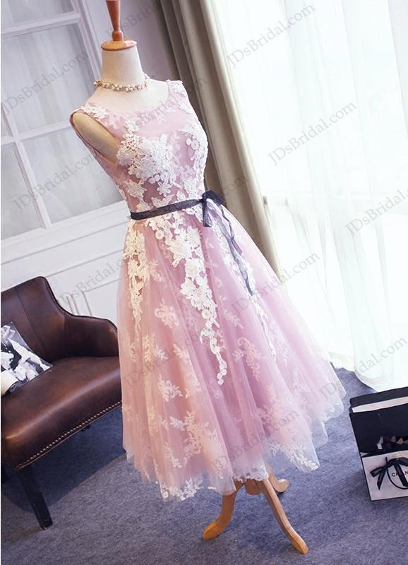 Wedding - PD16041 Amazing purple with white lace detailed tea length prom gown