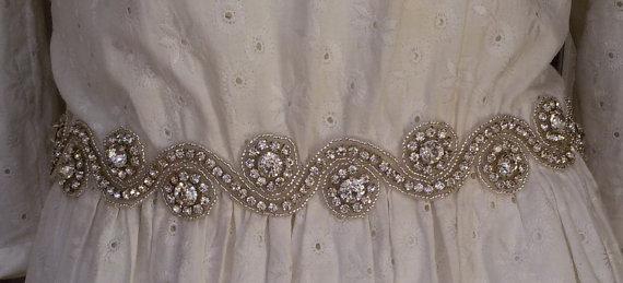 Hochzeit - Wedding sash belt, Wedding sash, Wedding sashes and belts , Bridal belt, Crystal bridal sash, Satin ribbon with crystal and rhinestone,