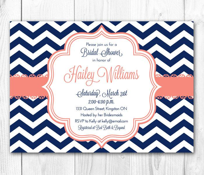Bridal Shower Invitation   Chic Chevron In Coral U0026 Navy. DIY Printable  Bridal Shower Invite Or Baby Shower Invite.