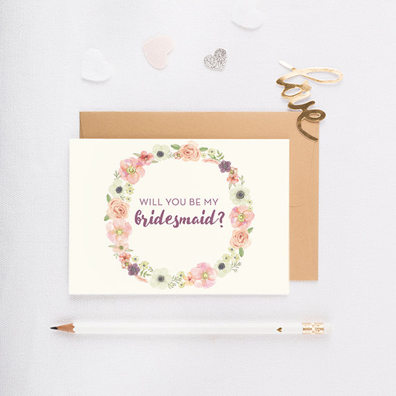 Wedding - Will You Be My Bridesmaid Card, Wedding party card, bridesmaid invitation, bridal party, personalized bridesmaid card - FLORAL WREATH