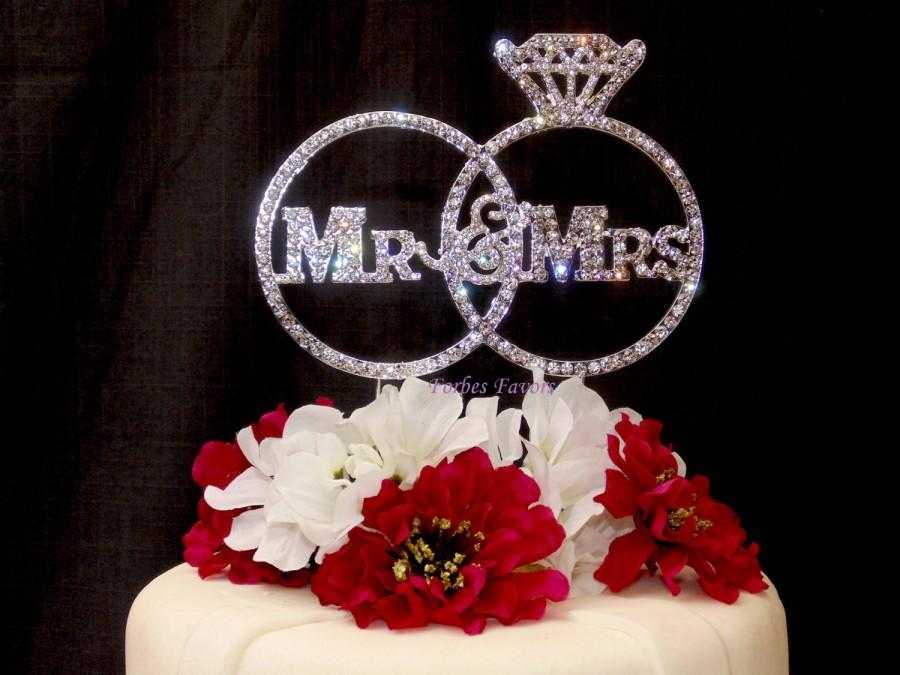 Gorgeous Mr Mrs Real Rhinestone Rings Wedding Cake Topper
