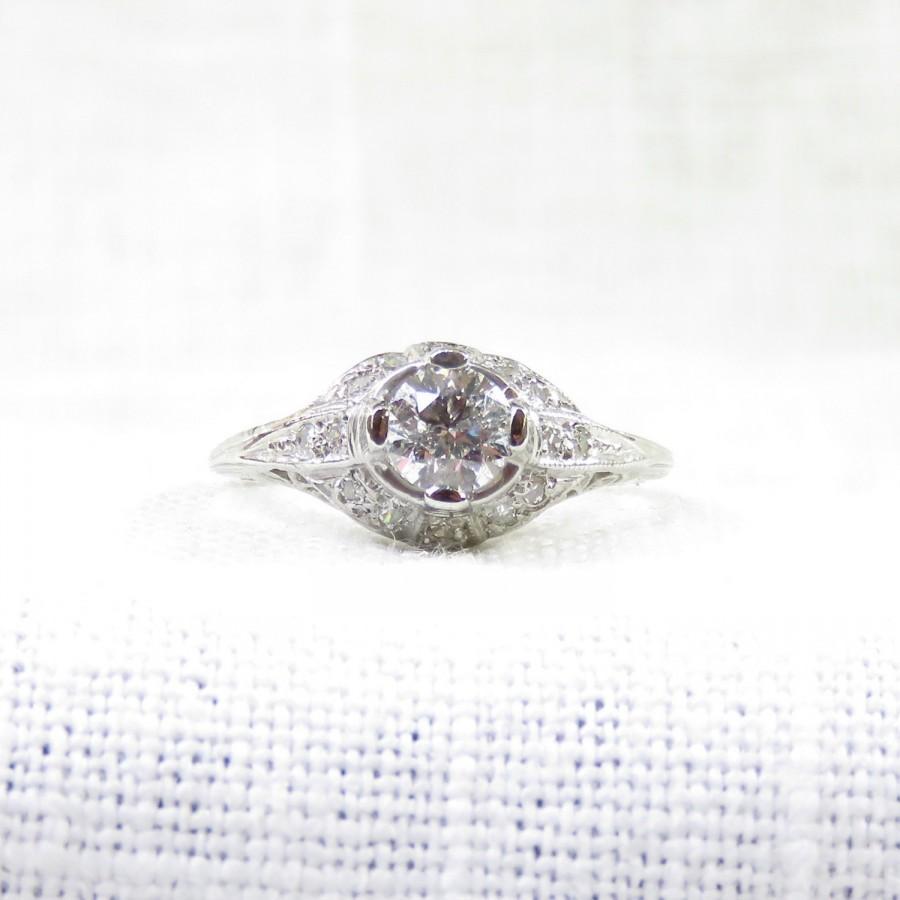 Свадьба - Art Deco Platinum Diamond Engagement Ring .77 Carat