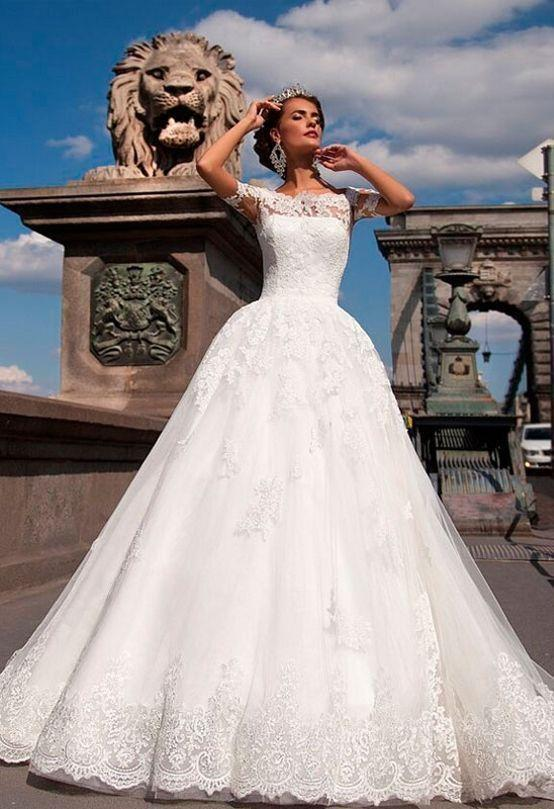Wedding - Vintage Sheer Lace Off Shoulder Wedding Dresses 2016 Short Sleeve A-Line Illusion Applique Chapel Train Bridal Dress Ball Gowns Cheap Online with $112.31/Piece on Hjklp88's Store