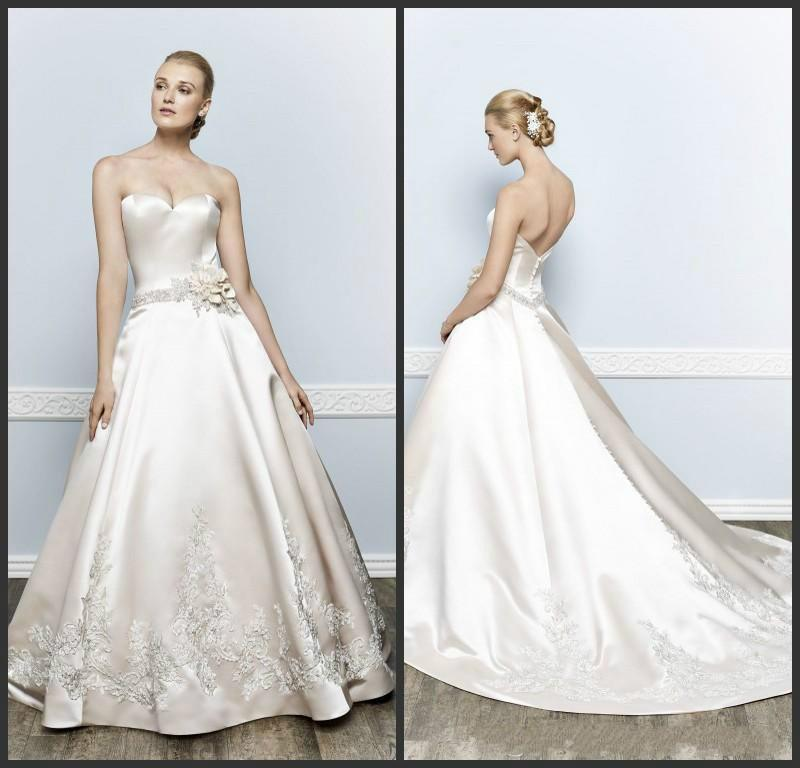 Fashion ivory wedding dresses 2016 applique handmade for Ivory satin wedding dress