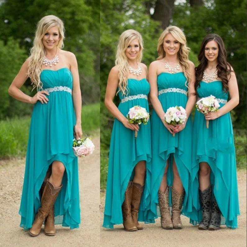 Spring Garden High Low Bridesmaid Dresses 2016 Cheap Sweetheart Neck