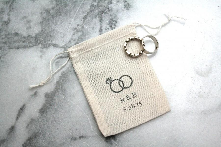 Personalized Muslin Wedding Ring Bag Rustic Ring Pillow Alternative