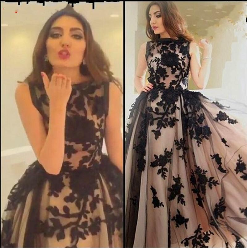 Modest Black Appliques Champagne Tulle Arabic Evening Dresses Prom ...