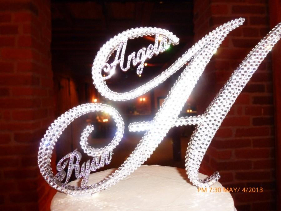 Mariage - Gorgeous Swarovski Crystal Cake TOPPERS 6'' WITH first NAMES customized in Any Letter