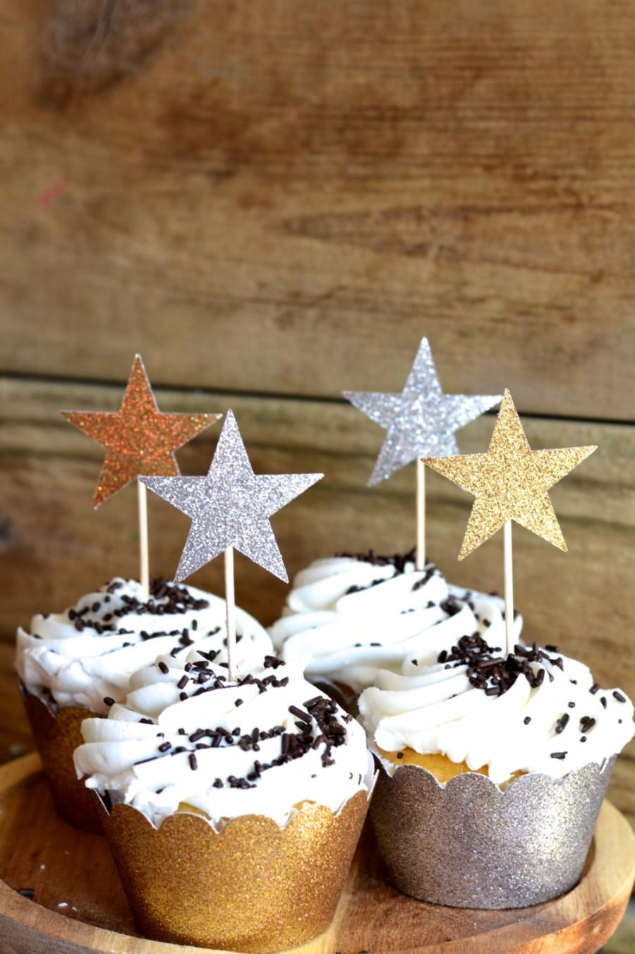 Mariage - Glitter Star Cupcake Toppers, 12 blue, bronze, gold, pink, hot pink, silver or red picks, custom colors available