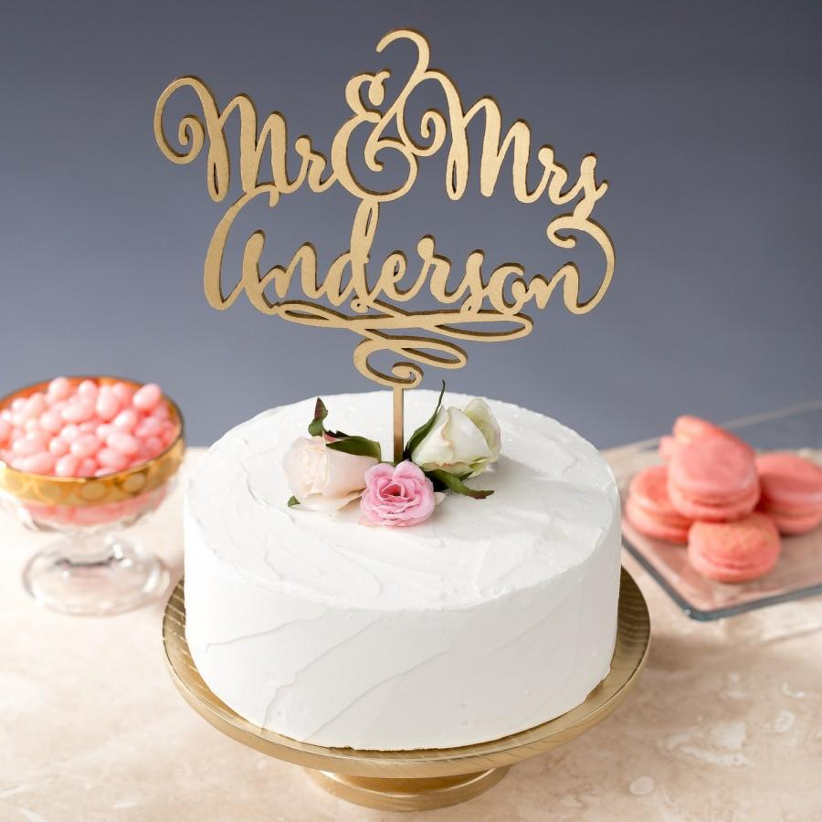 Mariage - Gold Mr Mrs Cake Topper - Custom Cake Topper for Wedding Cake - Last Name - Daydream Collection