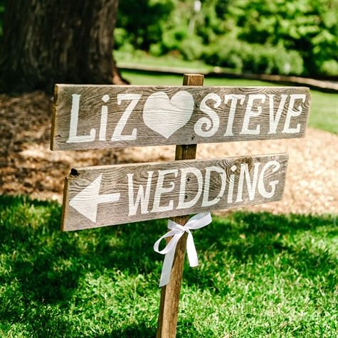 Rustic Wedding Signs Romantic Outdoor Weddings LARGE FONT Hand Painted Reclaimed Wood Vintage Road