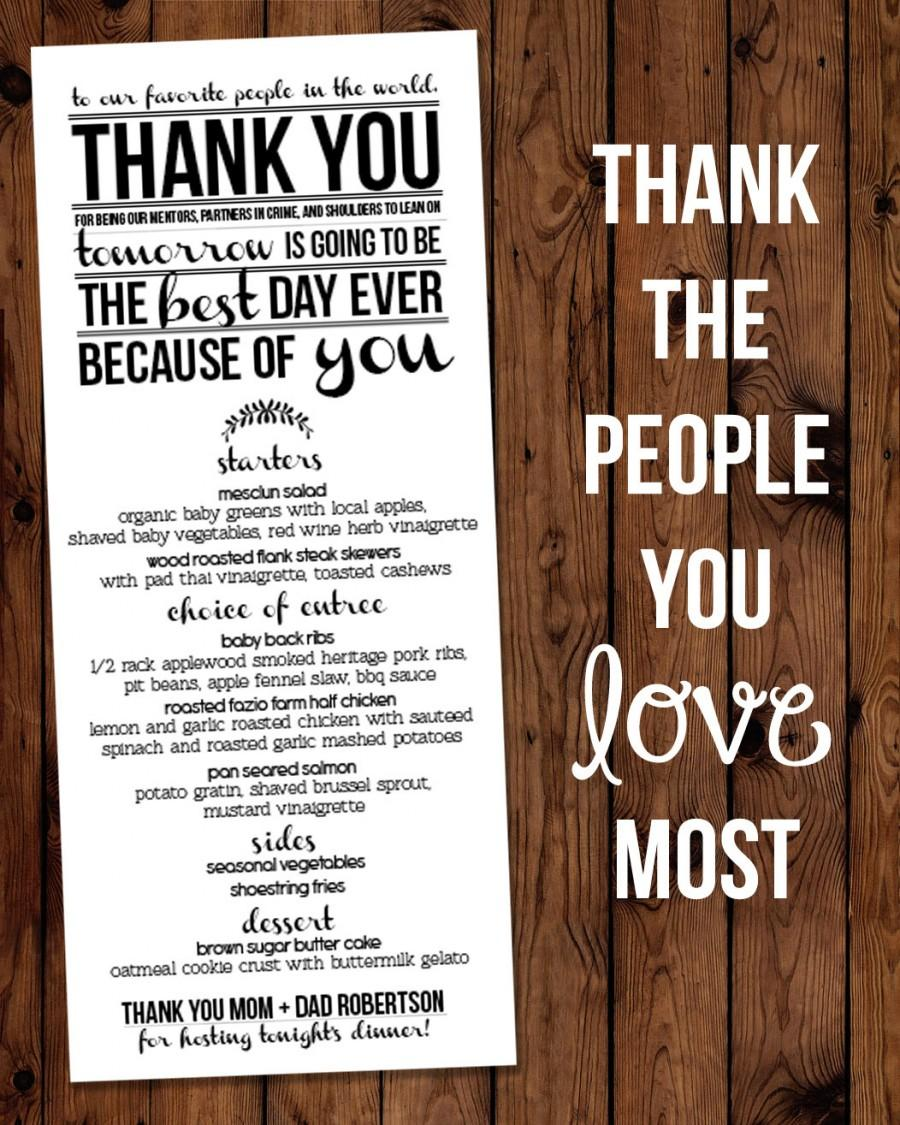 "Свадьба - Modern ""Thank You"" Rehearsal Dinner Menu Printable"