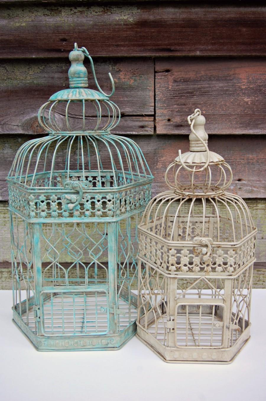 Sale Shabby Chic Rustic Wedding Decor 14quot Bird Cage Card Holder Wis...