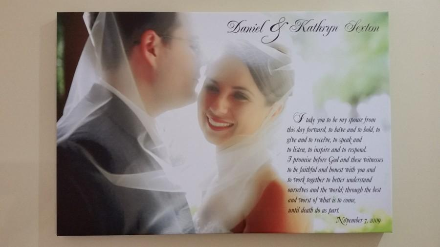 """Mariage - Valentine's Days Special- Wedding Vows, , Wedding Vows Canvas, Wedding Vows Anniversary, Canvas wrapped on solid 3/4"""" Deep  wood frame"""