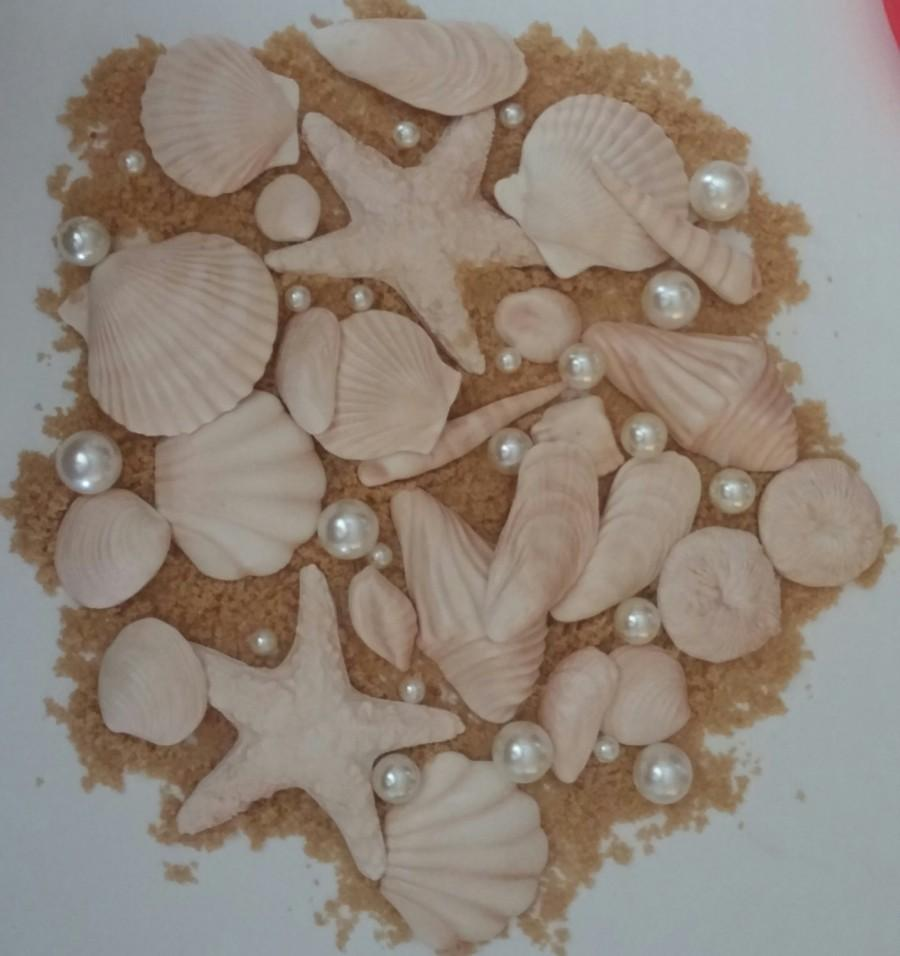 زفاف - 20 Edible Variety SEASHELLS- sugar, gum paste/fondant.. cake or cupcake toppers