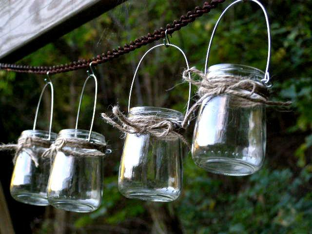 four rustic mini jar lantern candle hanging vase outdoor lighting rustic wedding woodland. Black Bedroom Furniture Sets. Home Design Ideas