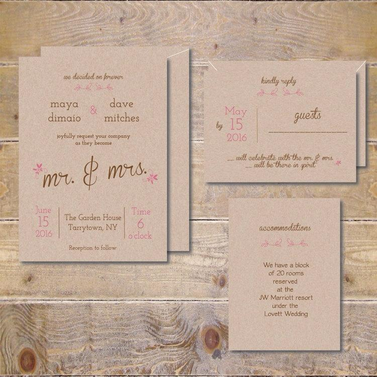 Recycled Wedding Invitations, Rustic Wedding Invitations, Mr And Mrs ...