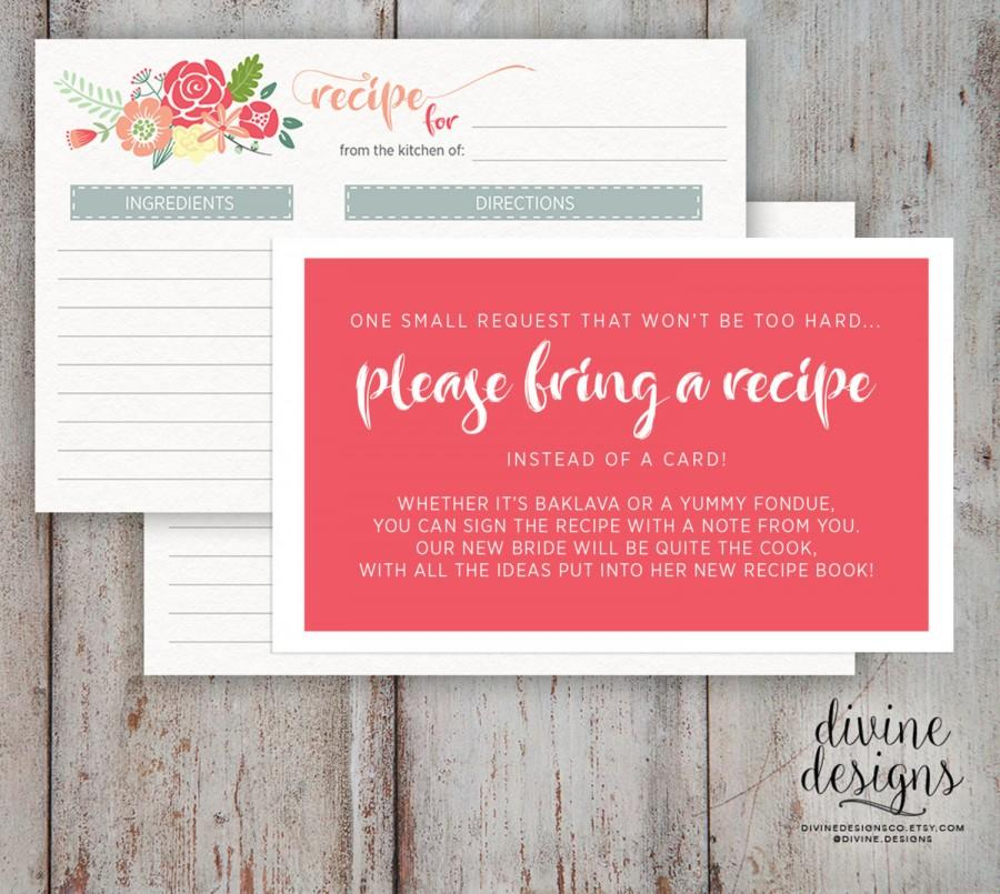 زفاف - Recipe Card - Bridal Shower - Please Bring a Recipe - Cute Bridal Shower idea! - INSTANT DOWNLOAD