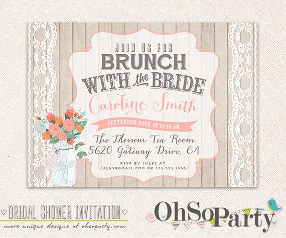 SHABBY BRUNCH Custom Bridal Brunch Invitation Card Brunch With
