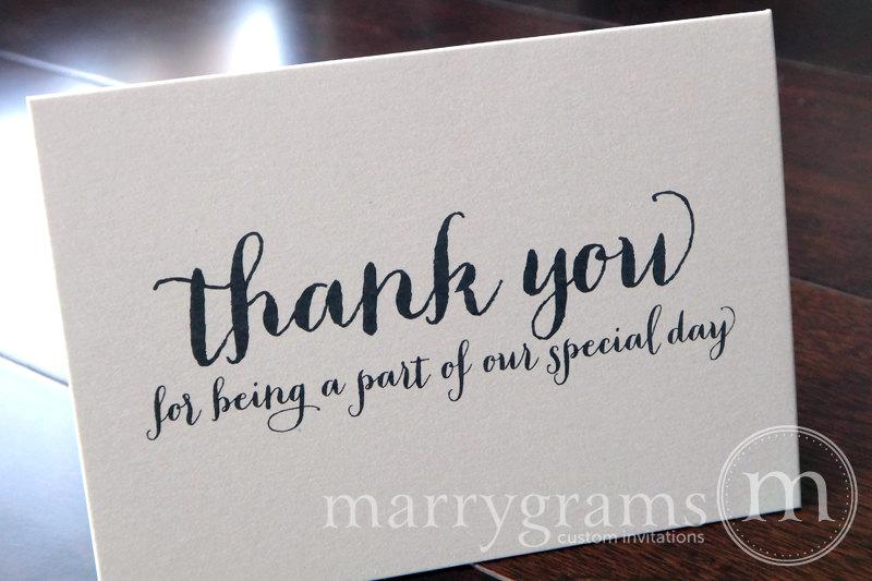 Wedding Thank You Note Card Set  Misc Thank You For Being A Part