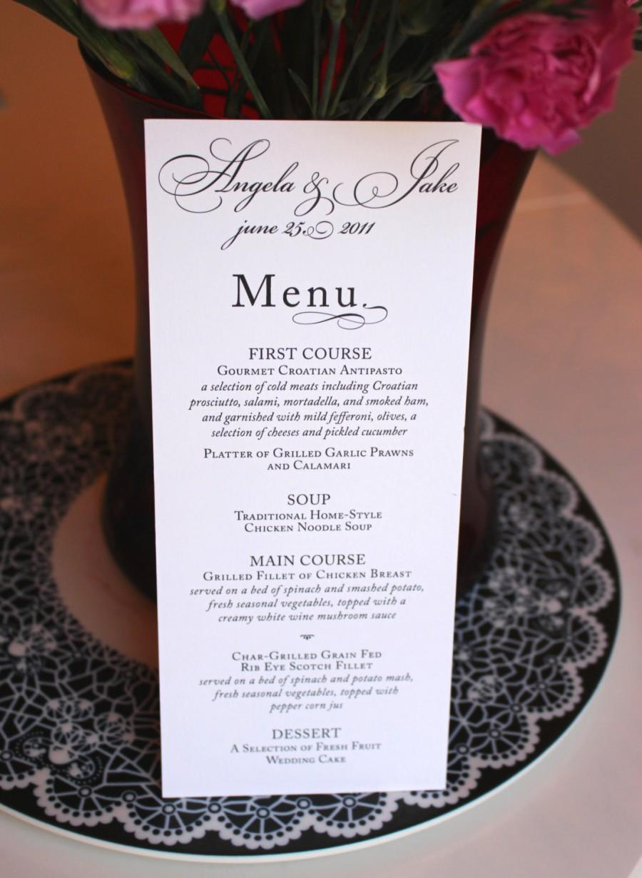 Wedding - Black and White Wedding Menu / Modern Wedding / Classic Wedding Menu / Once Charmed Menu Sample