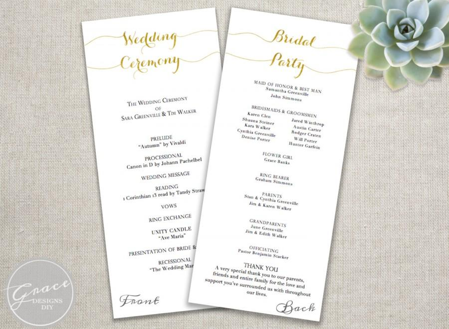 Wedding Ceremony Programs.Gold Wedding Programs Script Calligraphy Style Tall