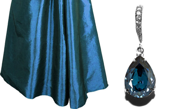 Wedding - Montana Navy Blue Crystal Earrings Deep Blue Rhinestone Earrings Swarovski Montana Silver CZ Rhinestone Wedding Earrings Bridesmaid Earrings