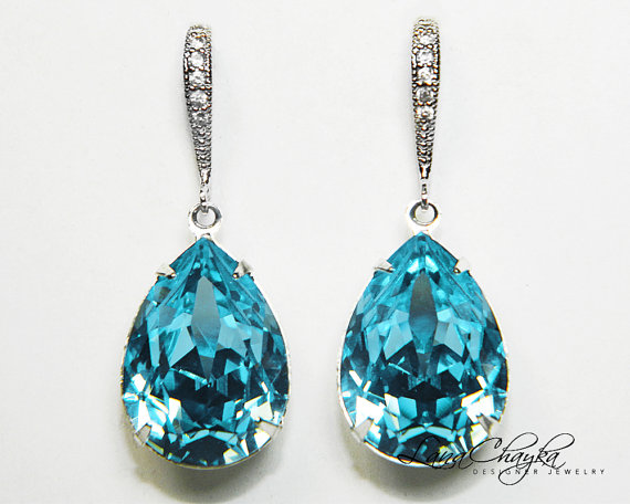 Aqua Blue Crystal Earrings Aquamarine Rhinestone Swarovski Sterling Silver Teardrop Wedding
