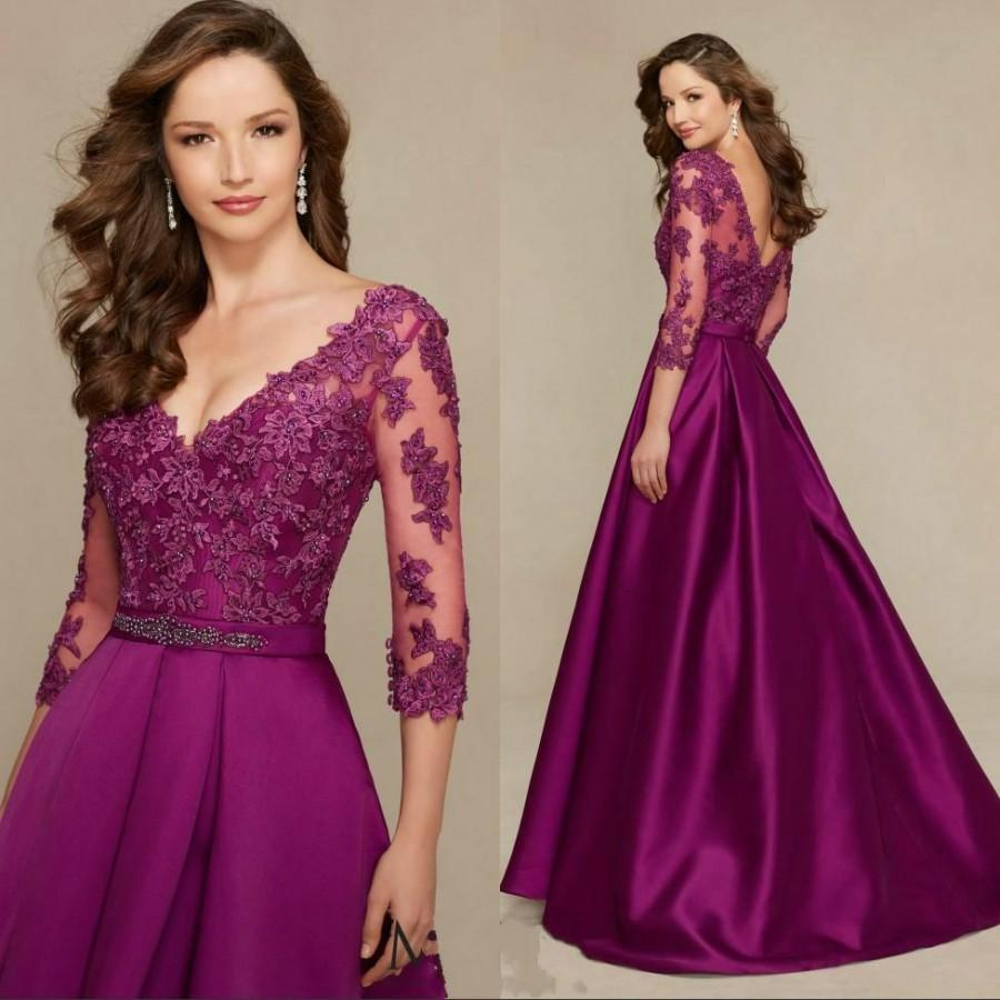 Elegant Grape Lace Mermaid Mother Of Bride Formal Gowns With Sheer ...