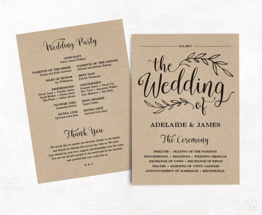 printable wedding program wedding program template kraft paper