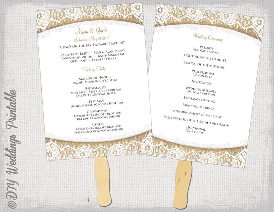 "Wedding - Wedding Program fan template Rustic ""Burlap & Lace"" DIY order of ceremony program printable program fans YOU EDIT digital download"