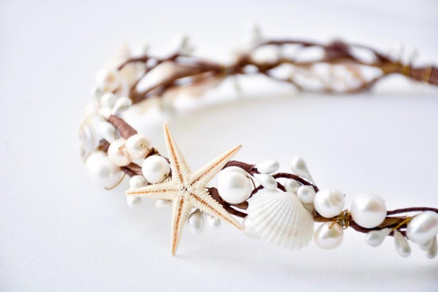 Seashell Crown Beach Wedding Hair Accessories Bridal Headband Rustic Headpiece Starfish Tiara