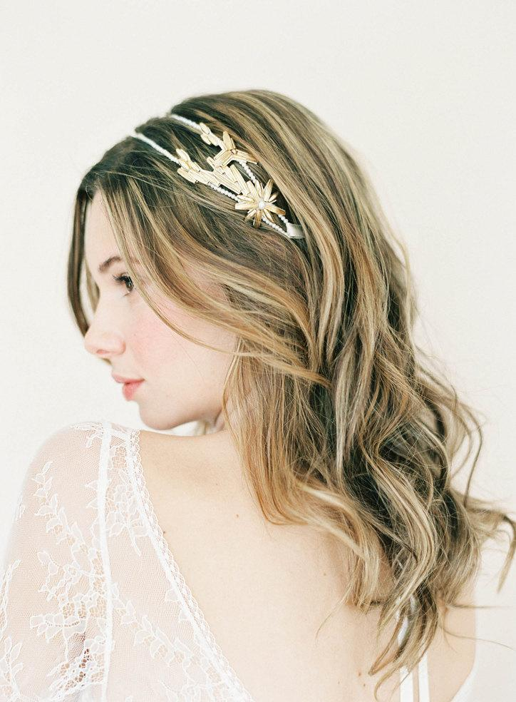 """Mariage - Art Deco style wedding double headband with gold and pearls """"Blythe"""""""