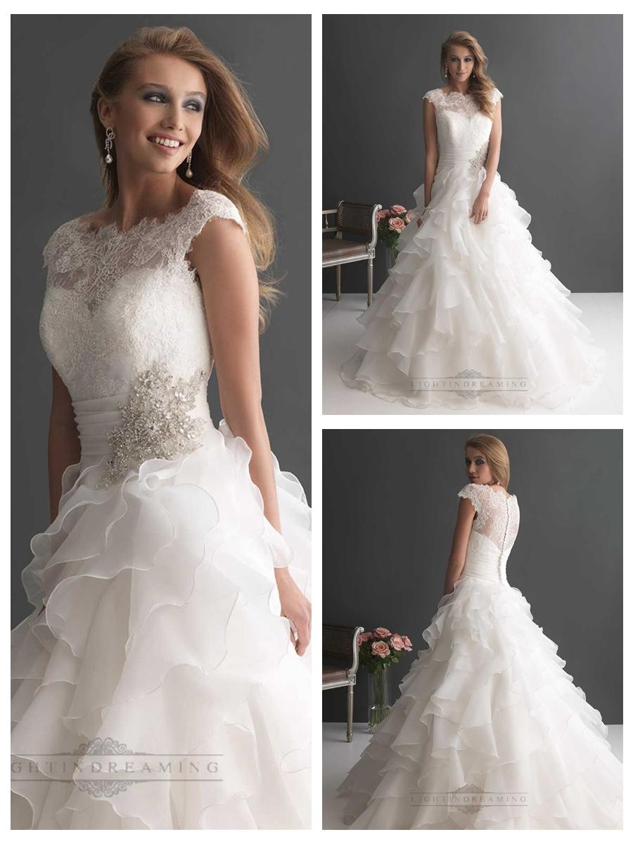 Layered Wedding Dress With Sleeves : Wedding cap sleeves ruffled layered ball gown dresses with