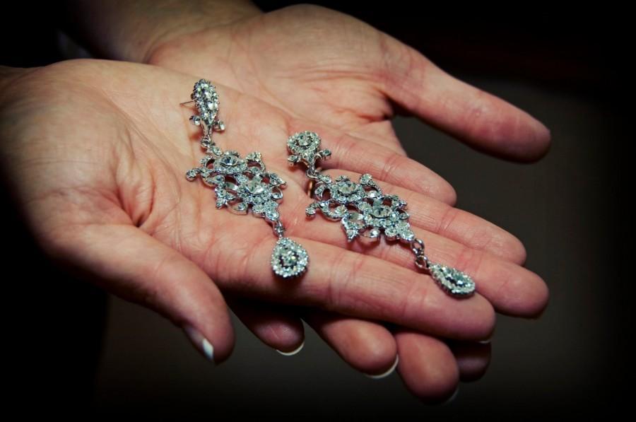 Wedding - Statement Earrings, Chandelier Bridal Earrings, Victorian Wedding, Edwardian Jewelry, ARMANI