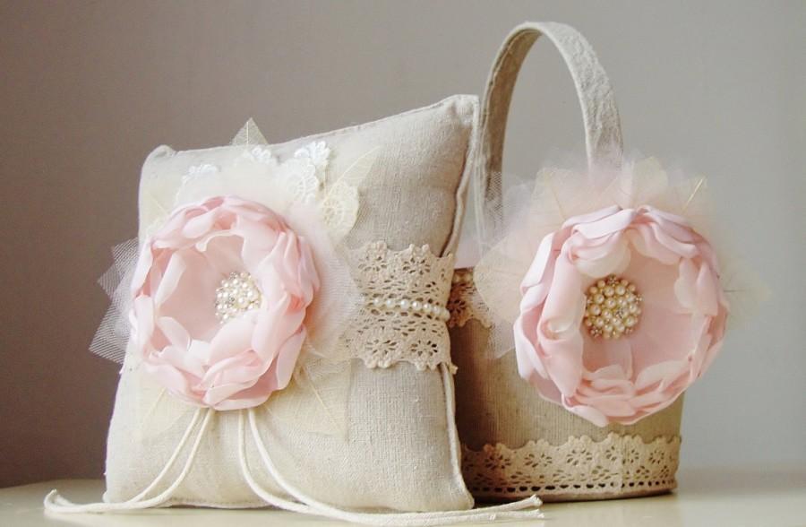 blush flower girl basket bridal ring bearer pillow rustic wedding set vintage basket and. Black Bedroom Furniture Sets. Home Design Ideas