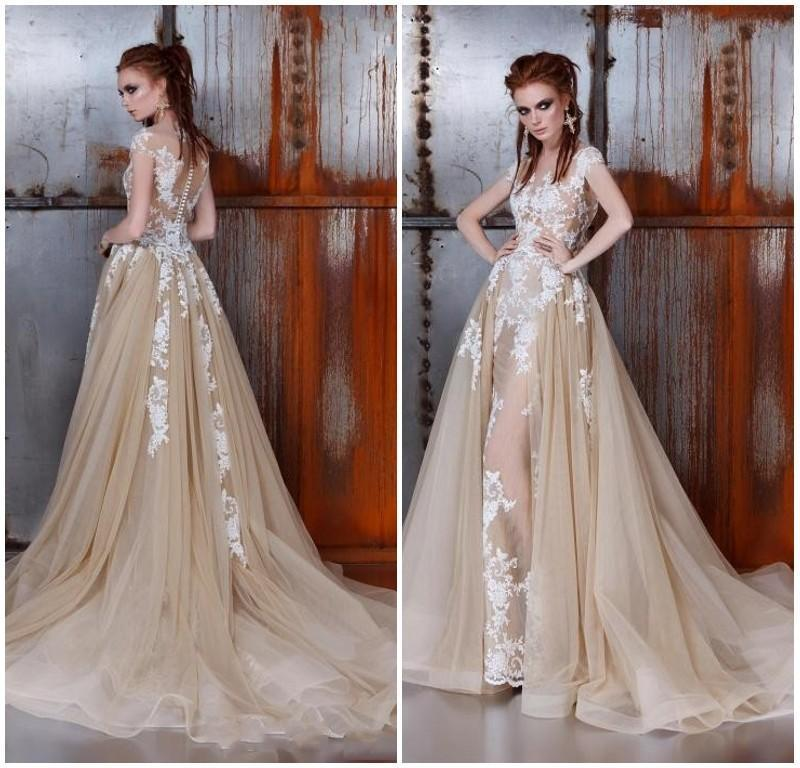 Gorgeous Ange Etoiles Lace Wedding Dresses 2016 Detachable Train Champagne Sheer Cap Sleeve Illusion Bodice Overskirt Bridal Gowns Ball Online With