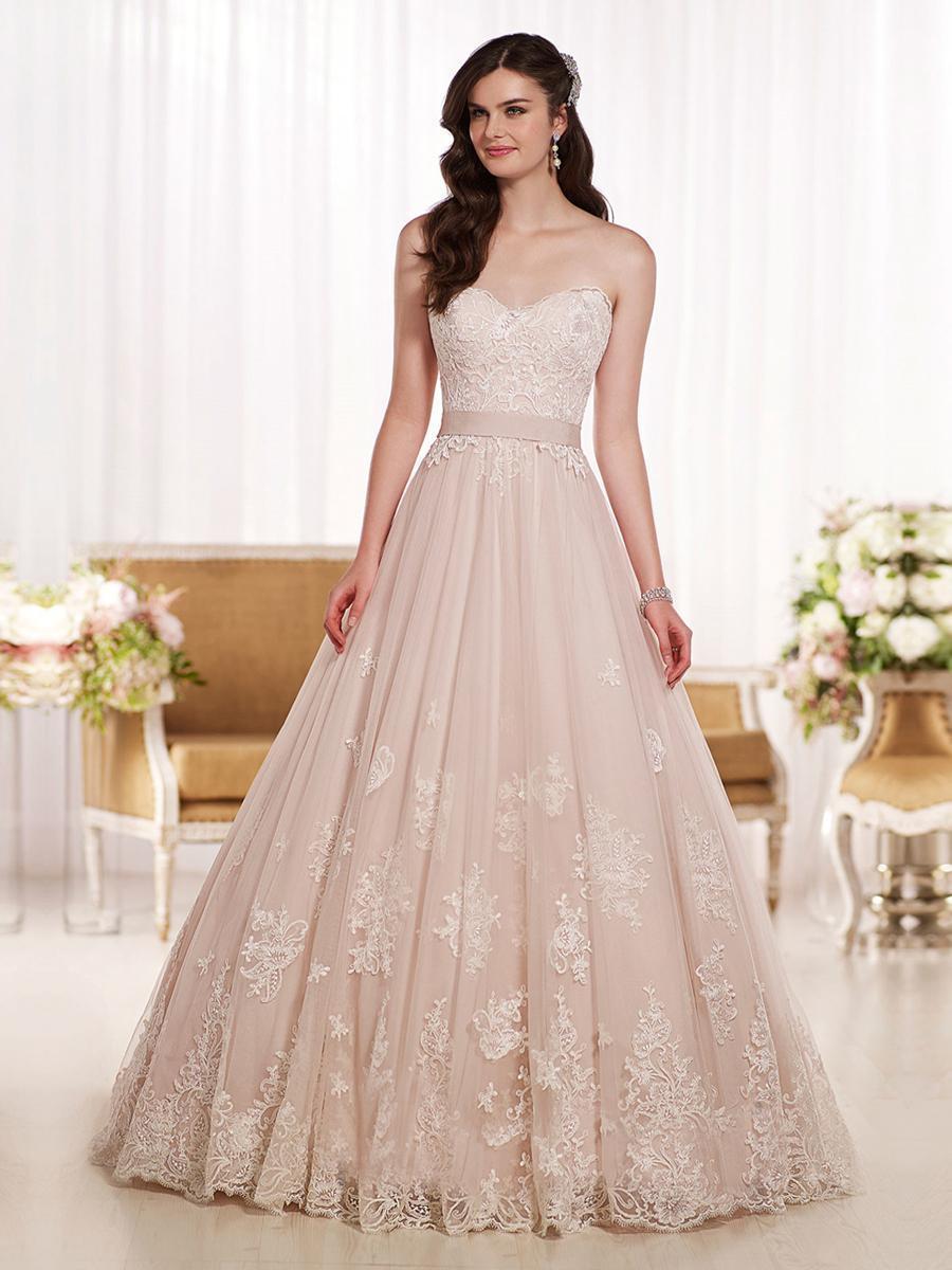 Elegant blush pink sweetheart wedding dresses vestido de for Blush pink lace wedding dress