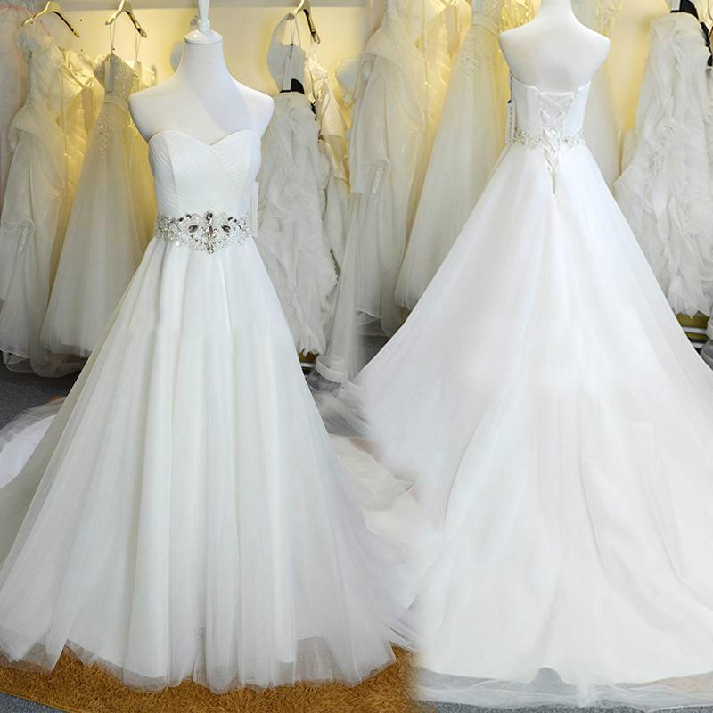 Stunning tulle white wedding dresses with beads crystal for White wedding dress cheap