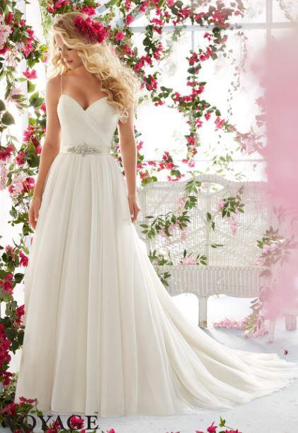 Свадьба - 2016 New Spaghetti Backless A Line Wedding Dresses Chiffon Beads Sweetheart Brides Gowns Sweep Train Wedding Dress Online with $98.17/Piece on Hjklp88's Store