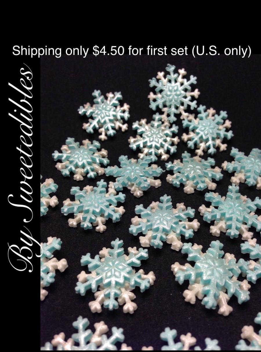 Wedding - FROZEN THEME Edible Small Snowflakes Blue and White Cake Toppers